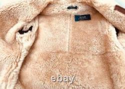 POLO RALPH LAUREN Brown Shearling Leather Coat M New Auth Jacket RRP2500GBP