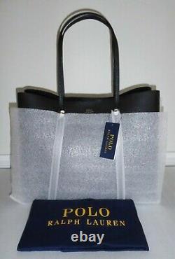 POLO RALPH LAUREN Large LENNOX Pebbled Leather TOTE Shoulder BAG Black $398 NWT