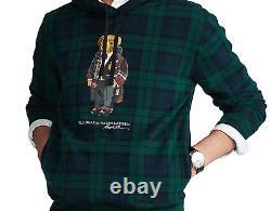 POLO RALPH LAUREN Men's Bear Tartan Blackwatch Plaid Fleece Hoodie NEW NWT