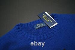 POLO RALPH LAUREN Men's Blue Polo Varsity Tiger Cotton Pullover Sweater NEW NWT