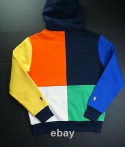POLO RALPH LAUREN Men's Colorblock Cotton Blend Fleece Pullover Hoodie NEW NWT