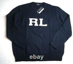 POLO RALPH LAUREN Men's Navy Blue Letterman RL Cotton Pullover Sweater NEW NWT