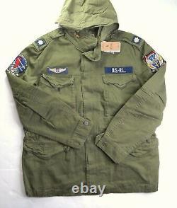 POLO RALPH LAUREN Men's Olive Green Herringbone Patches Field Jacket NEW NWT