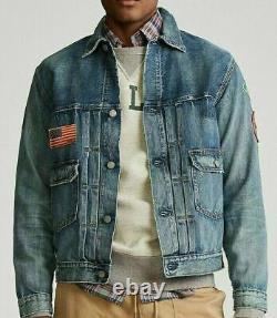 POLO RALPH LAUREN Men's Sportman Patch Trucker Blue Denim Jacket NEW NWT