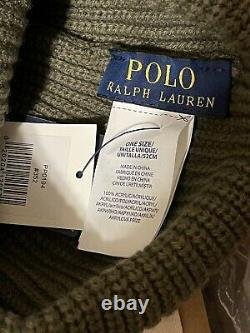 POLO RALPH LAUREN Mens Patch Beanie Hat TIGER Skull Watch Cap Upcycle OLIVE