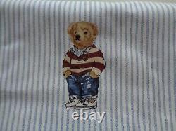 POLO Ralph Lauren Boy Teddy Bear QUEEN Blue Stripe Sheet Set Cotton 4 PCS NEW