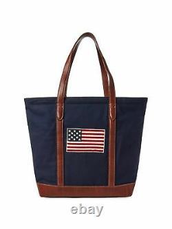 Polo Ralph Lauren 50th Anniversary Bear Logo USA Flag Leather Navy Tote Bag