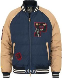 Polo Ralph Lauren 750 Down Rugby Letterman Bomber Varsity Football Jacket Patch