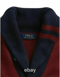 Polo Ralph Lauren Chunky Knit Varsity Patch Letterman Pwing Cardigan Sweater