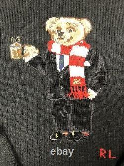 Polo Ralph Lauren Cocoa Bear Polo Bear Knit Sweater XL Red Black LTD Edition