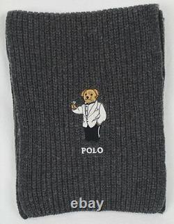 Polo Ralph Lauren Collectable Grey Teddy Bear Scarf Beanie Hat Skull Cap Set NWT