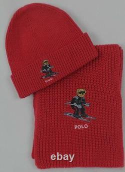 Polo Ralph Lauren Collectable Red Teddy Bear Scarf Beanie Hat Skull Cap Set NWT