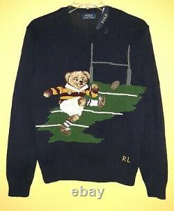 Polo Ralph Lauren Cotton Blend Rugby Football Kicker Bear Navy Men`s Sweater M L