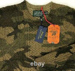 Polo Ralph Lauren Country Adirondack Camo Wool Sweater Knit Green Brown Mens XL