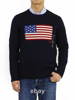 Polo Ralph Lauren Crew Pullover USA Flag Sweater Navy Made In USA