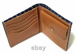 Polo Ralph Lauren Double Rl Rrl Indigo Blue Sailor Canvas Leather Wallet $195+
