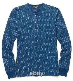 Polo Ralph Lauren Double Rl Rrl Indigo Blue Star Henley Jersey Shirt $250+