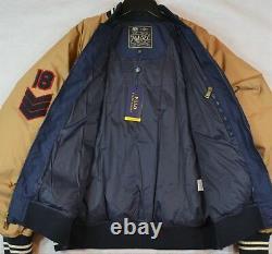 Polo Ralph Lauren Down Bomber Letterman Varsity Jacket P-Patch Football L NWT