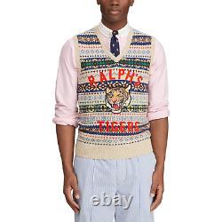 Polo Ralph Lauren Fair Isle Ralphs Tigers Tiger Patch Varsity Sweater Vest NWT