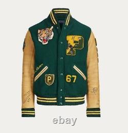 Polo Ralph Lauren Green Tiger Letterman Jacket Sz L
