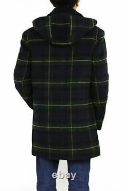Polo Ralph Lauren Heavy Lauren Wool Hooded Toggle Overcoat Pea Coat Tartan Plaid