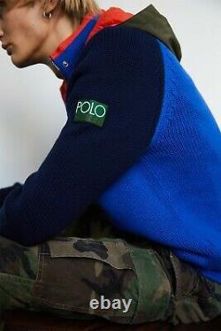 Polo Ralph Lauren Hi Tech 93 Colorblocked Hybrid Knit Hoodie Sweater Stadium CP