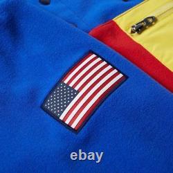 Polo Ralph Lauren Hi Tech American Flag Colorblocked Fleece Sweatshirt Pullover