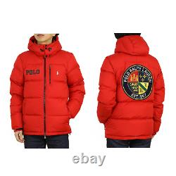 Polo Ralph Lauren Hooded Down Puffer Jacket with Emblem Patch Back Red
