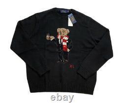 Polo Ralph Lauren Hot Chocolate Cocoa Bear Knit Crewneck Sweater Black Mens XL