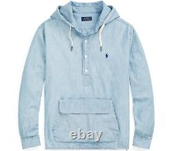 Polo Ralph Lauren Indigo Dyed Chambray Hooded Popover Henley Hoodie Pullover Men