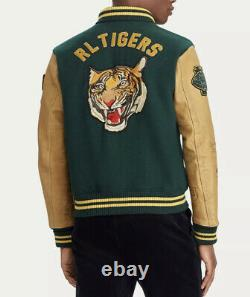 Polo Ralph Lauren Large Letterman Varsity Jacket Leather RRL Rugby Green Tiger