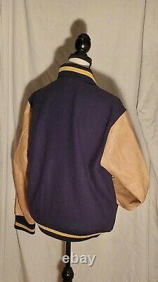 Polo Ralph Lauren Leather and Wool Blend Letterman Varsity Jacket Navy L $798