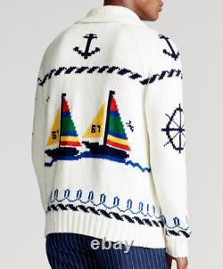 Polo Ralph Lauren Men CP 93 Sailing Yacht Regatta Full Zip Knit Sweater Cardigan