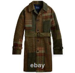 Polo Ralph Lauren Men Wood Tweed Wool Patchwork Jacket Knit Coat Belted Topcoat