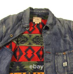 Polo Ralph Lauren Men's Blue Aztec Lined Jean Jacket