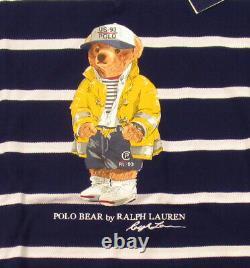 Polo Ralph Lauren Men's Cruise Navy CP-93 Bear Striped Lightweight Mesh Sweater