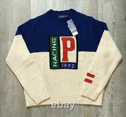 Polo Ralph Lauren Men's Italian Wool P Racing 1992 Sweater US Size L Large NEW