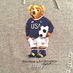 Polo Ralph Lauren Men's Polo Bear Soccer Bear Hoodie White Or Gray Big & Tall