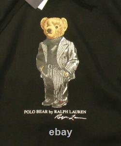 Polo Ralph Lauren Men's SZ M Black Suit Polo Bear Fleece Pullover Hoodie