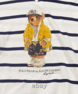 Polo Ralph Lauren Men's White CP-93 Polo Bear Striped Mesh Pullover Hoodie