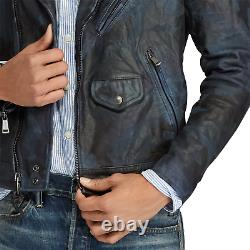 Polo Ralph Lauren Mens Blue Indigo Camo Italy Leather Vintage Biker Moto Jacket