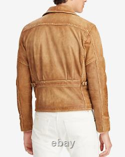 Polo Ralph Lauren Mens Distressed Leather Newsboy Beige Biker Moto Jacket NWT