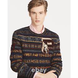 Polo Ralph Lauren Mens Fair Isle Wool Varsity Crew Patch Suede Letterman Sweater