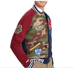 Polo Ralph Lauren Mens Patchwork Baseball Varsity Letterman Tiger Camo Jacket