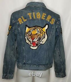 Polo Ralph Lauren Mens Varsity Tigers Football Letterman Patch Denim Jacket 2XL