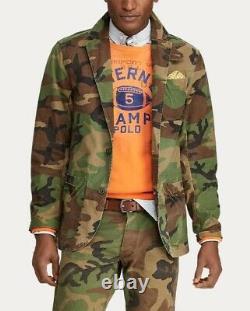 Polo Ralph Lauren Mens Vintage Camo Cotton Canvas Blazer Sport Coat Size S M L