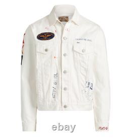 Polo Ralph Lauren Mens Vintage Naval Patch Graffiti White Denim Trucker Jacket