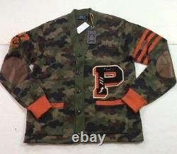 Polo Ralph Lauren Military Army Camo Snarling Tigers Letterman Sweater Cardigan