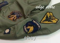 Polo Ralph Lauren Military Army MA-1 American US Flag Flight Bomber Pilot Jacket