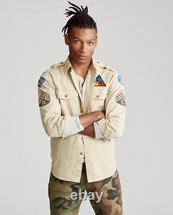 Polo Ralph Lauren Military Army One-Star Officer Chevron Patchwork Camp Shirts S